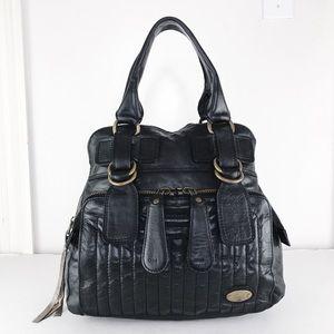 Chloé Black Leather Large Bay Tote Shoulder Bag